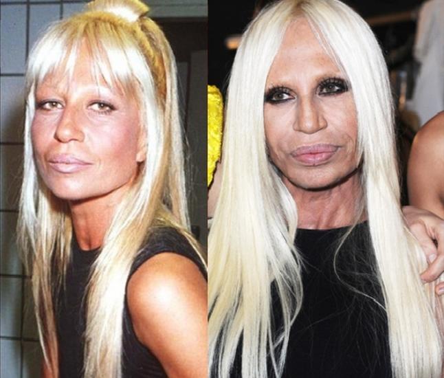 Donatella Versace: em 1993 e atualmente, com 56 anos, ainda com o mesmo bronzeado e fios platinados, e reinando à frente da marca