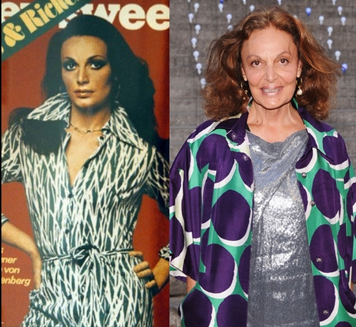 Diane von Fustenberg: a estilista, com 65 anos, continua com os traços que exibia nos anos 70