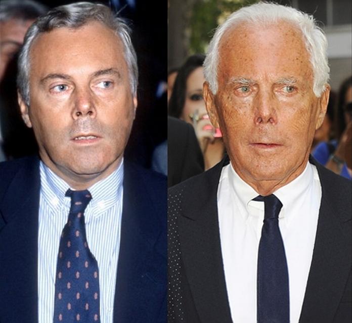 Giorgio Armani: o estilista no início dos anos 80 e a versão atual, aos 77 anos, ainda no comando de suas grifes