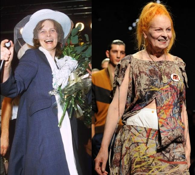 Vivienne Westwood: nada de fios coloridos, em 1987 a estilista era brunnette