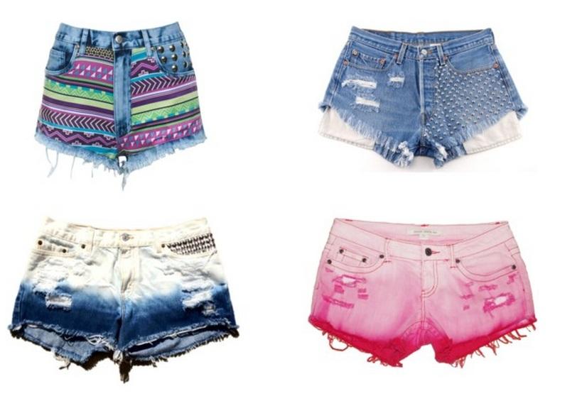 Shorts jeans de cintura alta e com muitas cores