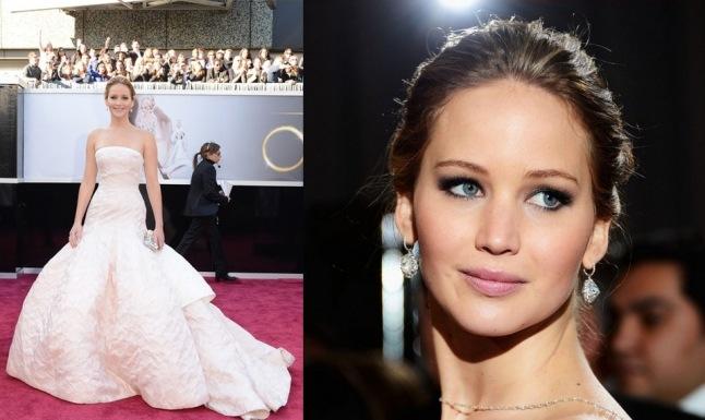 Jennifer Lawrence estava de Christian Dior haute-couture! O vestido ficou perfeito nela, sem deixar de contar que a maquiagem leve ficou perfeita.